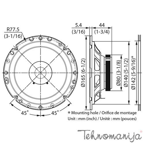KENWOOD Zvučnici za kola KFC-S1756