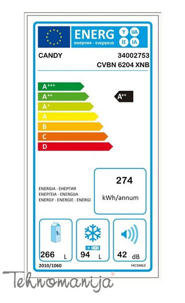 CANDY Kombinovani frižider CVBN 6204 XNB, Total NoFrost
