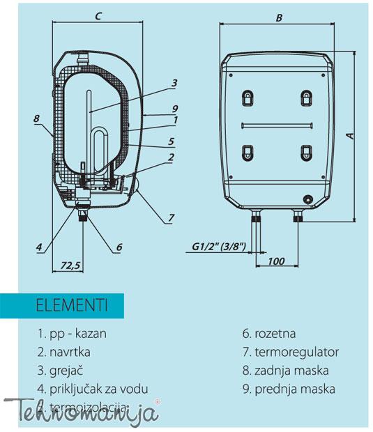 Metalac bojler EZV 10P W