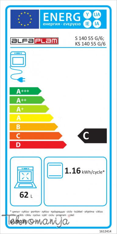 ALFA PLAM Električni šporet S 140 55 13, Konvencionalna rerna