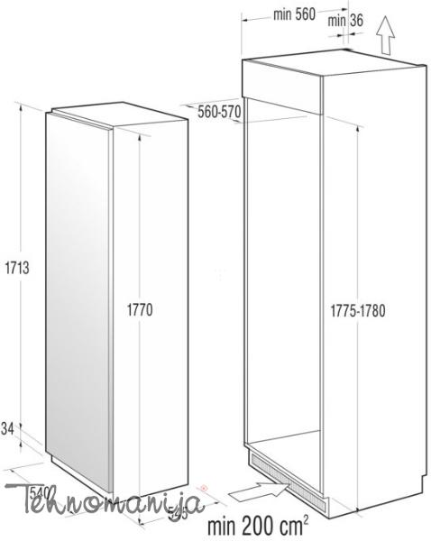 GORENJE Ugradni frižider RI 4181 AW, Samootapajući