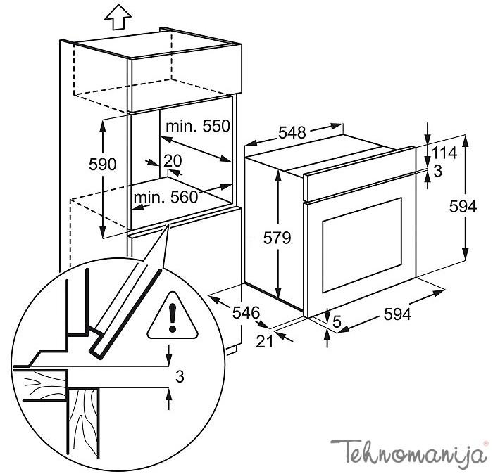Electrolux ugradna rerna EOB 3450 AOX