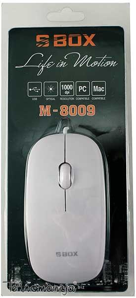 S BOX Žični miš M 8009 WHITE