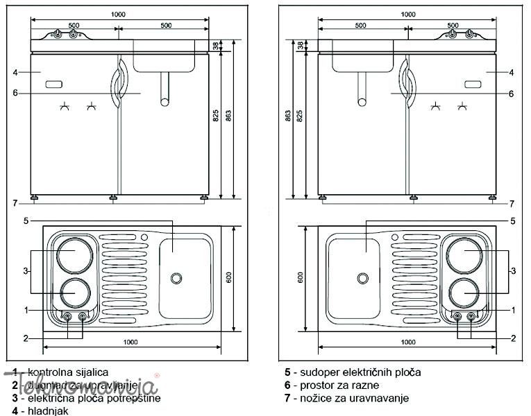 Gorenje mini kuhinja MK 100 SL4