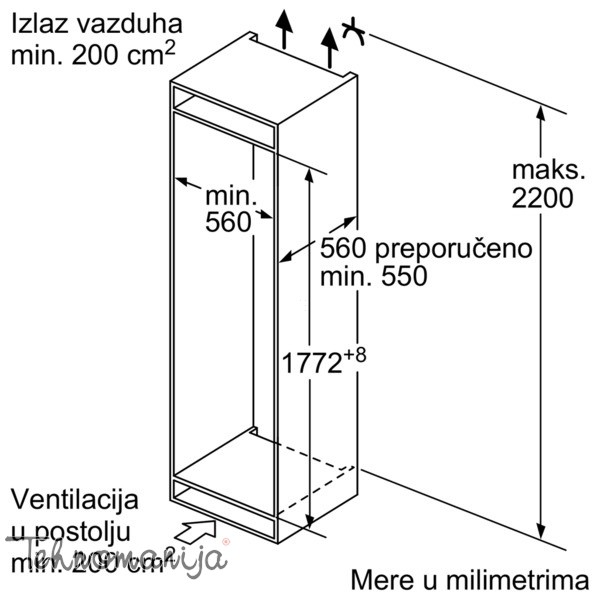 BOSCH Ugradni frižider KIR 81AF30, Samootapajući