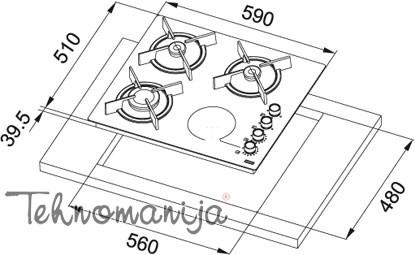 Franke ugradna ploča FHX 604 3G 1C BK C