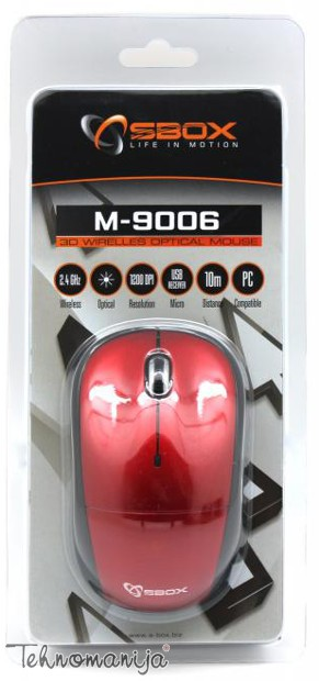 S BOX Bežični miš M 9006 RED