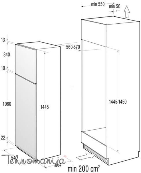 GORENJE Ugradni frižider RFI4151AW, Samootapajući