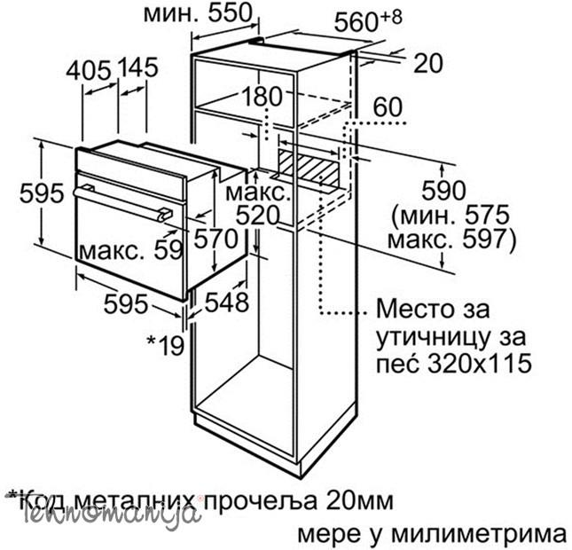 BOSCH Ugradna rerna HBN 231E3, Multifunkcionalna rerna