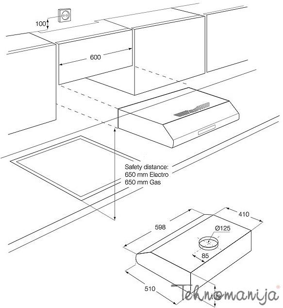 Electrolux ugradni aspirator EFT 635 X